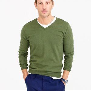 J Crew Olive Green Cashmere Blend V-Neck Sweater